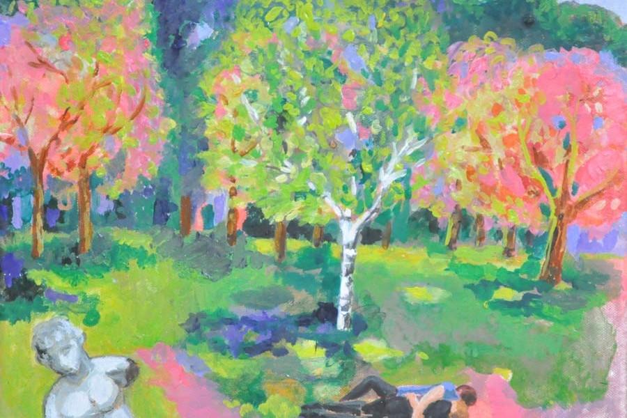 Evgenija Jarc, V parku (neznost), 40x40, olje na platnu, 2015