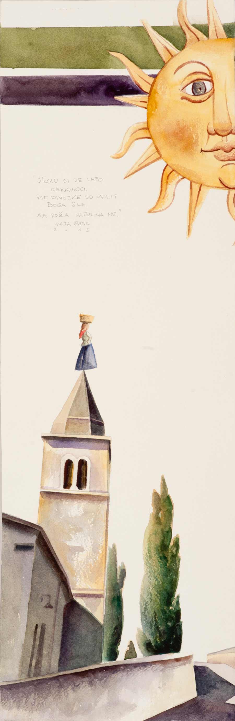 Maja Subic, Lepa cerkvica, akvarel, 23x73 cm, 2015
